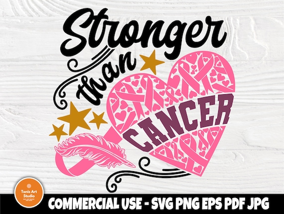 Stronger than Cancer SVG, Breast Cancer Shirt PNG
