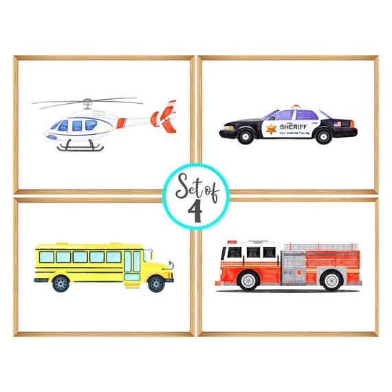 Set of 4 Prints | Kids Wall Art | Helicopter, Police Car, School Bus, Firetruck | Print Set for Boy | Wall Art Prints | Printable Art Decor