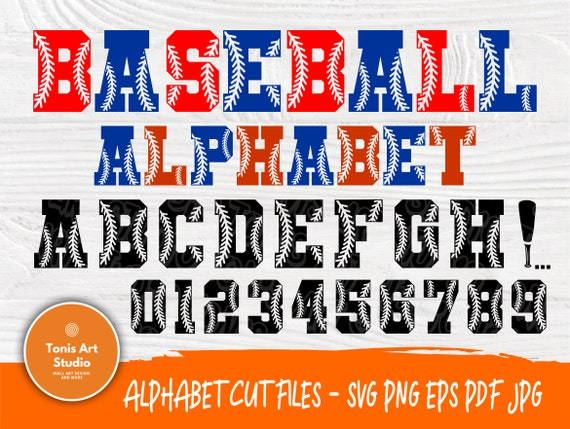 Softball Font SVG Cut Files, Letters & Numbers Svg