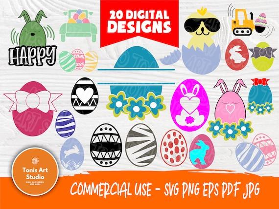 Egg SVG Bundle | Easter Eggs Svg | Egg Monogram Svg | Egg Silhouette | Eggs Clipart | Egg Cut Files | Cricut and Silhouette Files | Eggs Svg