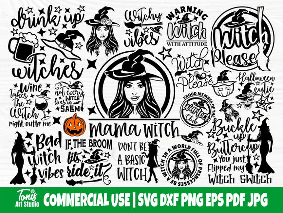 Halloween Witch SVG Bundle, Witches Svg, Png, Dxf