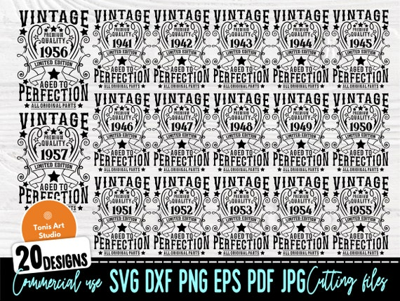 Vintage Birthday SVG, 1941-1960 Birthday Shirts
