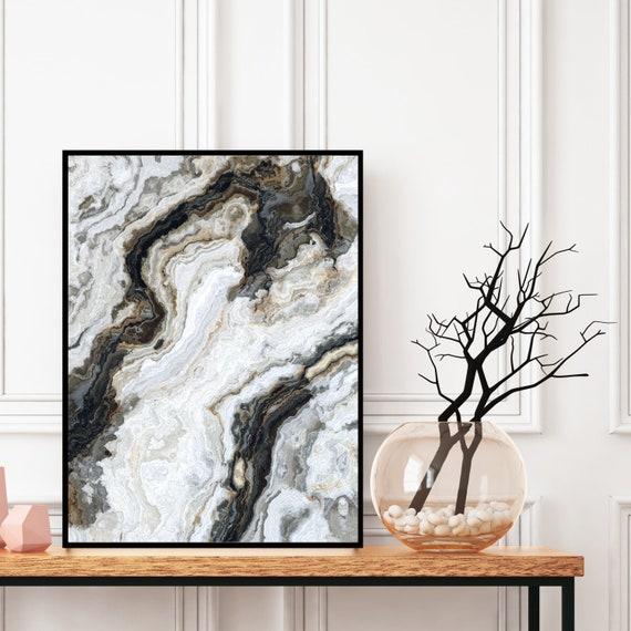 Agate Wall Art, Grey and Black Marble Decor Printable, Digital Download, Elegant Modern Art, Granite Wall Art, Geode Poster, Marble Print.