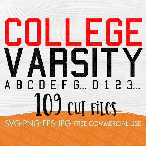 Varsity font SVG, College font svg, Alphabet svg