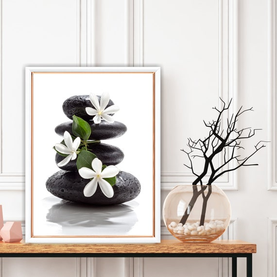 Zen Meditation Print, Health Balance Wall Art, Stones and White Flowers, Wellness and Relaxation Decor, Digital Download, Large Wall Art.