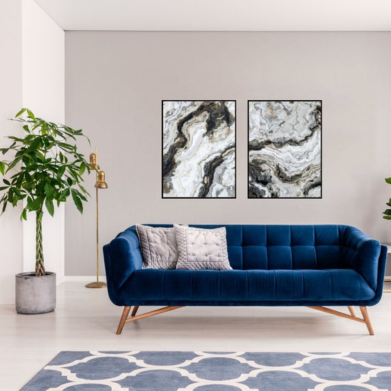 Agate Wall Art Set of 2 Prints, Grey and Black Marble Decor, Digital Download, Modern Art, Granite Wall Art, Geode Poster, Marble Prints.