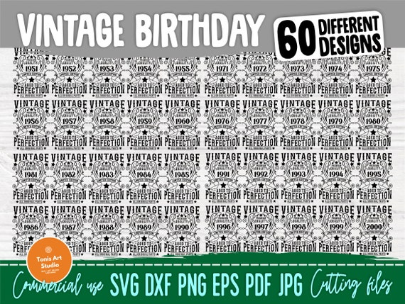 Birthday Bundle SVG, 1941-2000 Ages, Vintage Svg