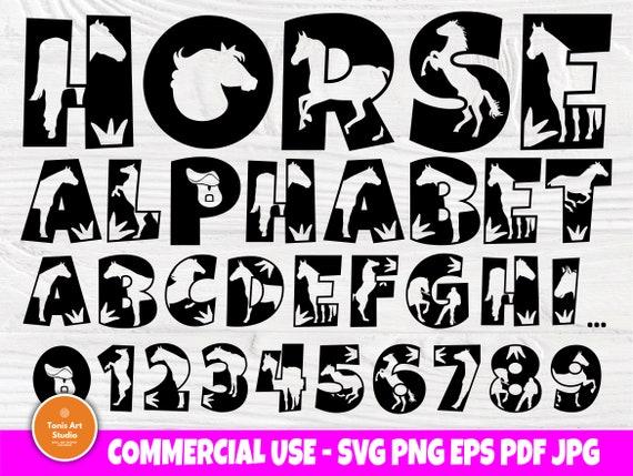 Horse SVG Fonts, Animal Alphabet, Horse Monogram