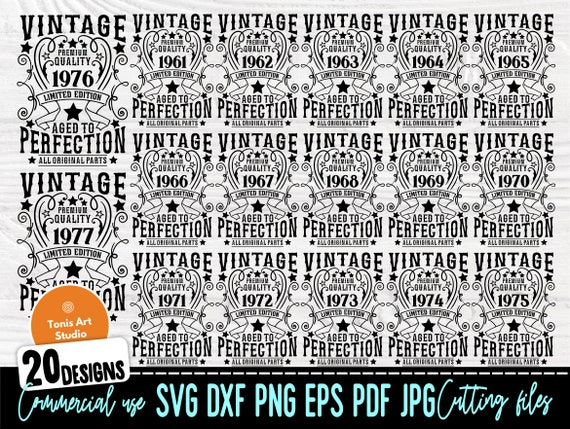 Vintage Birthday SVG Bundle, 1961-1980 Ages Svg