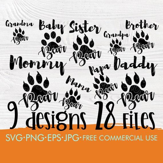 Bear family SVG | Bear feet svg | Bear silhouette | Boho svg | Mama svg | Papa svg | Brother svg | Sister svg | Baby svg | Family cut files
