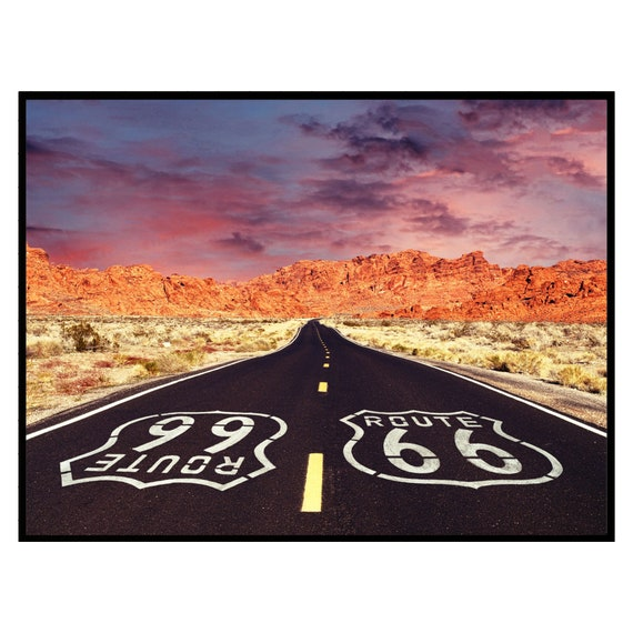 Retro Route 66 Highway Print, Sunset Print, Desert Wall Art, Digital Download, Vintage Wall Art, Retro Decor, Boho Wall Art, Travel Photo.