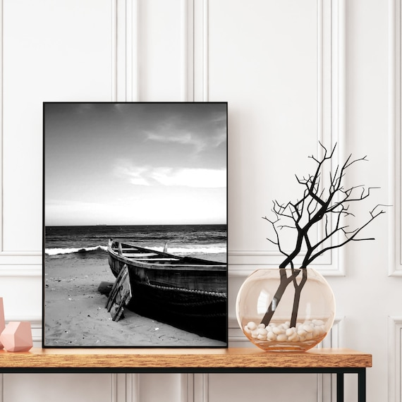 Beach Photography Print, Black and White, Digital Download, Boat on the Beach Wall Art, Beach Wall Art, Coastal Decor, Beach and Boat.