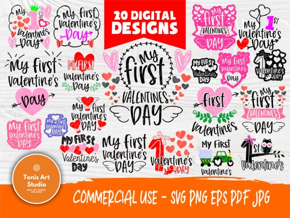 Valentine SVG Bundle   First Valentines Day   Valentines Svg   My First Valentine Svg   Valentines Signs   Cricut and Silhouette Cut Files