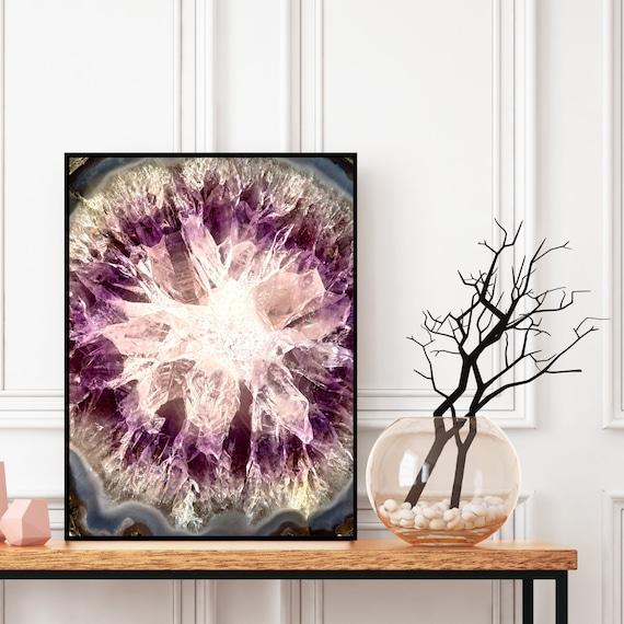 Agate Wall Art Print, Digital Download, Amethyst Crystal Decor, Elegant Modern Art, Abstract Wall Art, Colourful art, Geode Poster.
