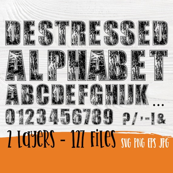 Distressed font SVG | Grunge alphabet svg | Distressed alphabet | Letters and numbers svg | Vintage font | Svg cricut files | Full alphabet