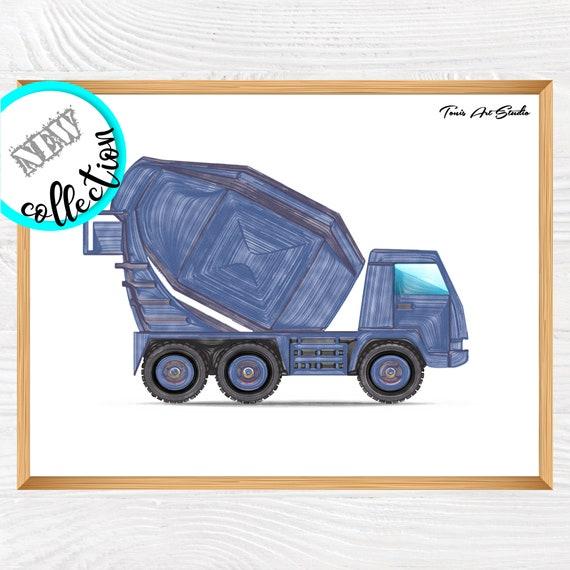 Concrete Mixer Wall Decor, Cement Mixer Truck Art, Boys Prints, Children Art Decor, Construction Wall Art, Construction Printable Art