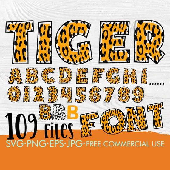 Tiger font SVG | Tiger alphabet svg | Tiger numbers svg | Alphabet cut files for cricut | Tiger silhouette | Patterned alphabet svg