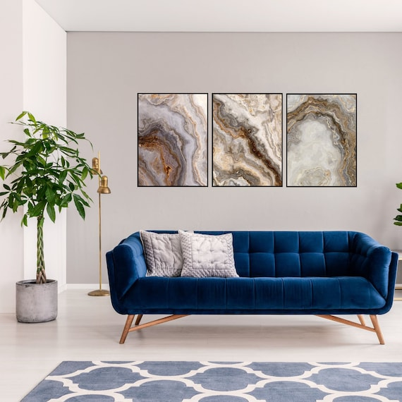 Agate Wall Art Set of 3 Prints, Grey and Brown Marble Decor, Digital Download, Modern Art, Granite Wall Art, Geode Poster, Marble Prints.