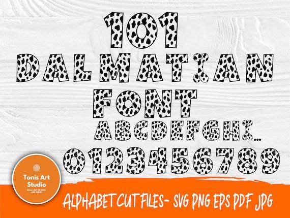 Dalmatian Font SVG | 101 Dalmatian Alphabet | Dalmatians Letters | Dalmatian Numbers | Stencil Font | Cut Files for Cricut and Silhouette