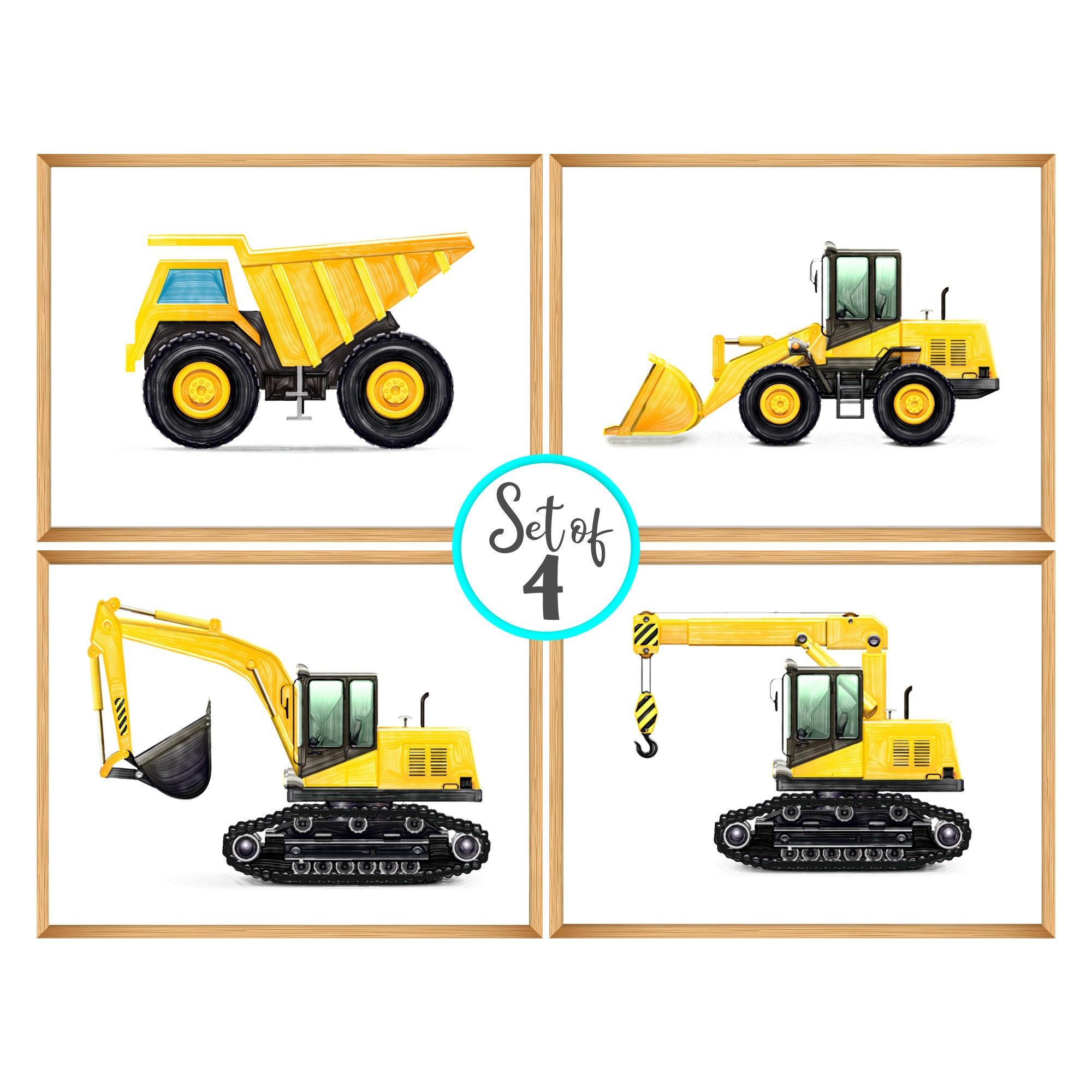 Excavator watercolor Yellow print Instant download Construction art decor Excavator print Construction vehicles Kids room decor