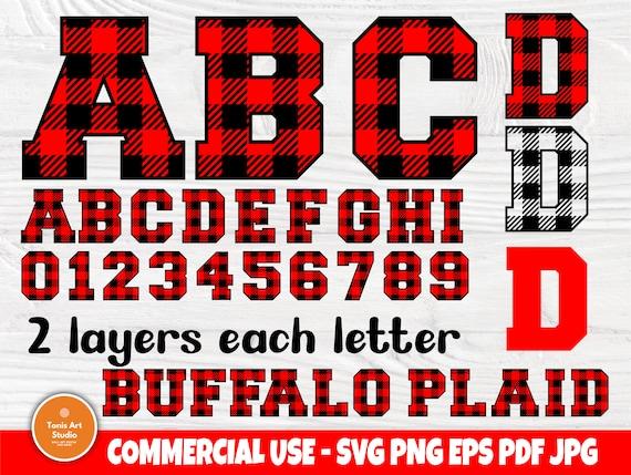 Buffalo Plaid SVG Fonts, Alphabet Clipart, Plaid Letters & Numbers, Buffalo Plaid Monogram Svg, Silhouette Cut Files, Svg Files for Cricut
