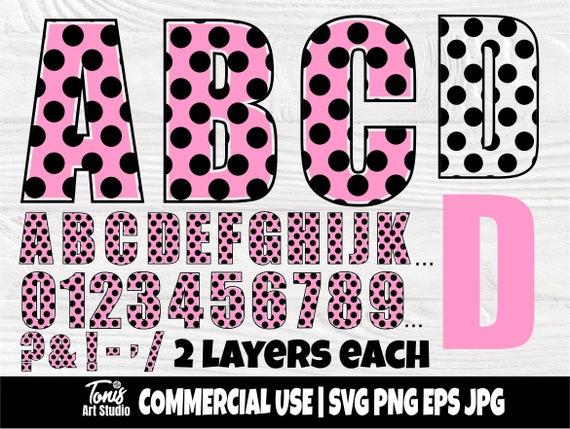 Polka dot alphabet, Polka dot font SVG Cut Files