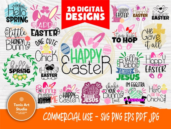 Easter SVG Bundle | Happy Easter Svg | Hello Spring Svg | Kids Easter Signs | Svg Bundle | Svg Files for Cricut | Silhouette Cut Files