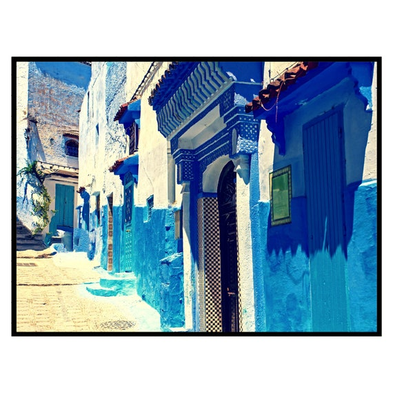 Moroccan decor, The Blue City Printable Art, Boho Wall Art, Architecture print, Large wall art, Travel photography, Digital Download.