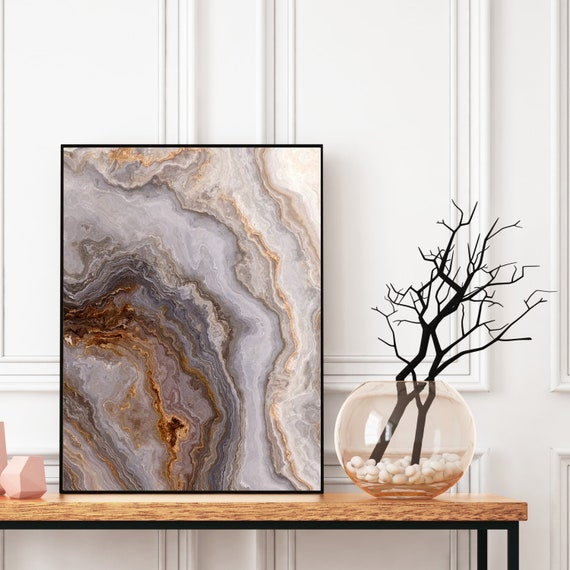 Agate Wall Art Print, Digital Download, Grey Marble Decor, Elegant Modern Art, Abstract Wall Art, Colourful art, Geode Poster, Marble Print.