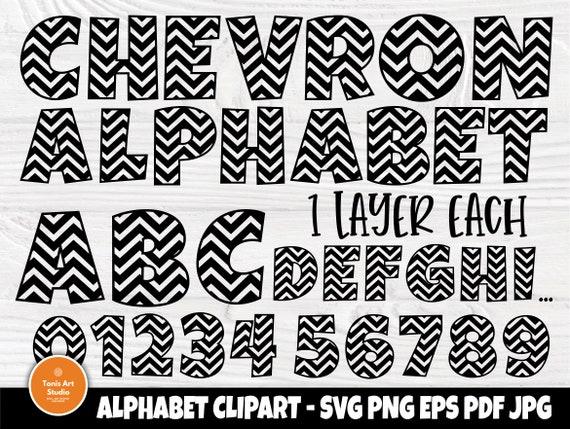 Chevron Alphabet SVG, Kids Font, Letters & Numbers