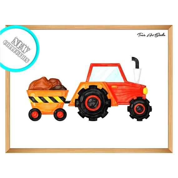 Nursery wall art | Tractor clipart | Tractor birthday | Watercolor | Printable art | Boy nursery | Farm tractor | Nursery decor | Digital
