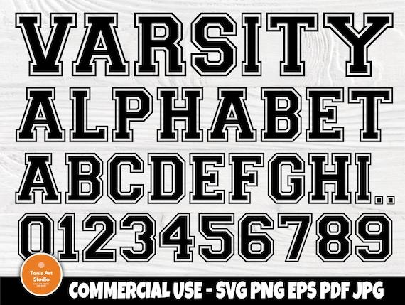 Varsity font SVG, College Alphabet, Monogram Svg