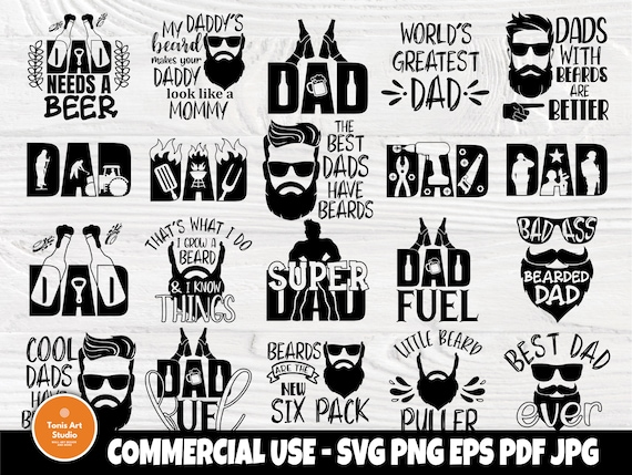 Fathers Day Svg, Beard Svg, Dad Signs, Beer Svg