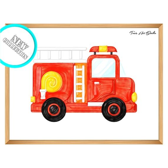 Nursery decor | Firetruck | Nursery wall art | Watercolor | Printable art | Wall art print | Boy nursery | Fire truck nursery art | Digital