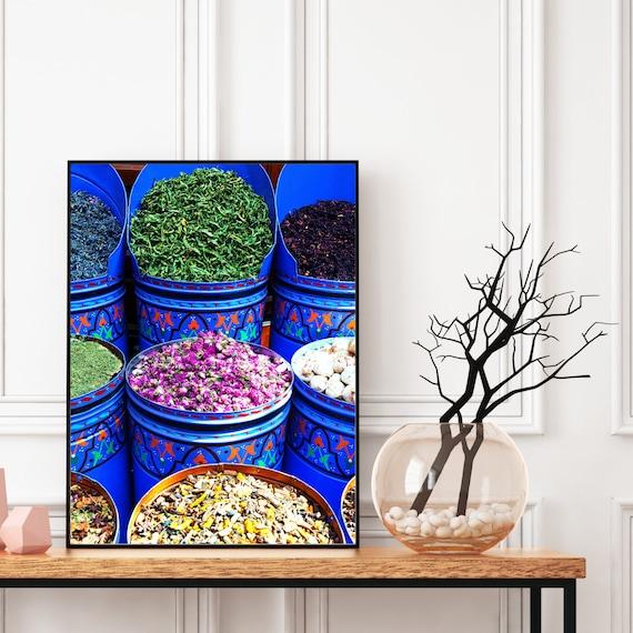 Moroccan Market Spices Print, Vintage Colourful Print, Boho Wall Art, Bohemian Decor, Large wall art, Travel photography, Digital Download.