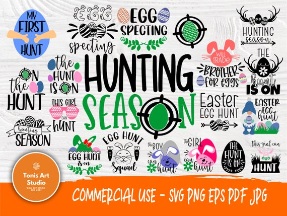 Easter SVG, Hunting Egg Season Svg Png Eps Pdf Jpg for Cutting Machines Cricut Cameo, Easter Eggs Svg, Egg Hunt is on, Boy and Girl Svg