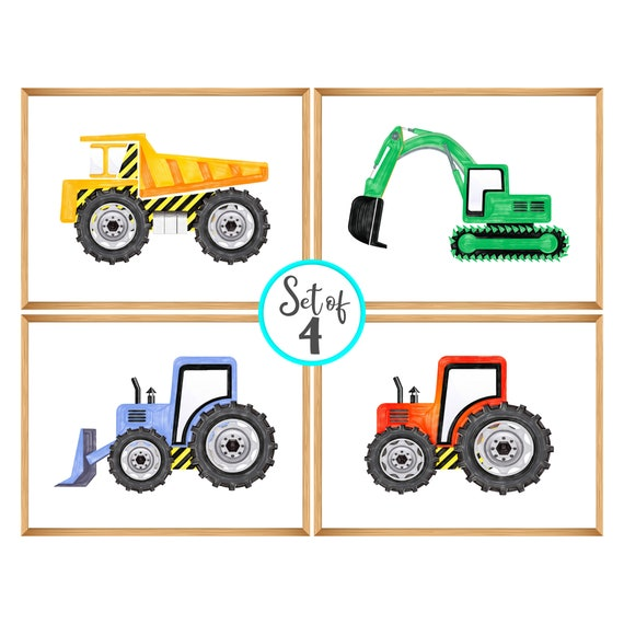 Printable Construction Art Decor | Set of 4 | Construction Vehicles | Kids Room | Excavator dump truck bulldozer tractor | Printable art