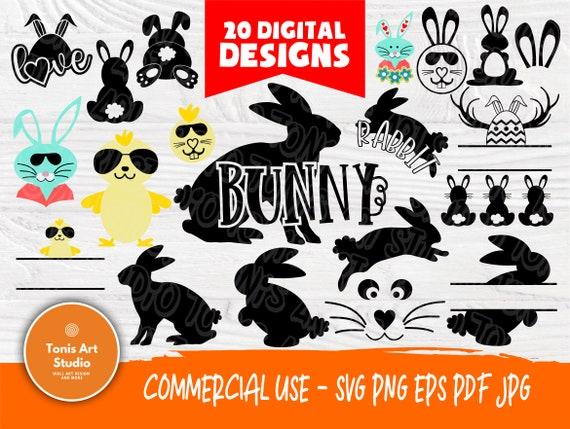 Rabbit SVG Bundle | Rabbit Cut Files for Cricut and Silhouette | Rabbit Monogram | Rabbit Clipart | Easter Svg | Bunny Svg | Cutting Files