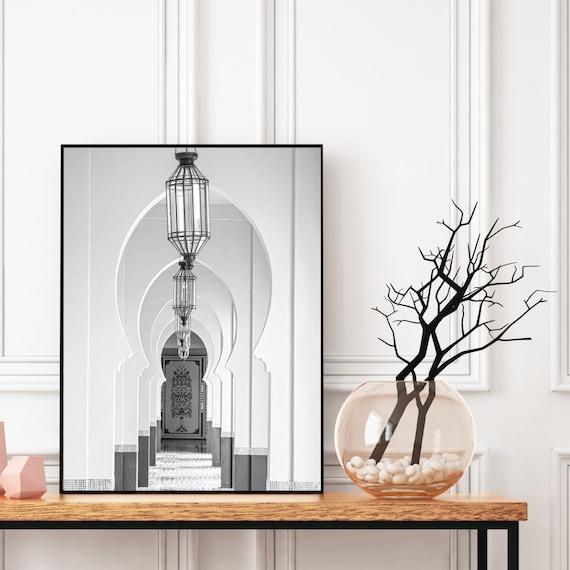 Moroccan decor Black and White Printable, Boho art print, Bohemian decor, Architecture print, Large wall art, Travel photography.