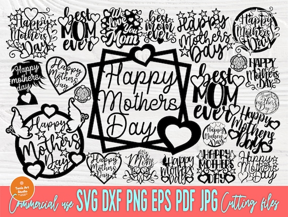 Happy Mothers Day SVG, Cake Topper Svg, Png, Dxf
