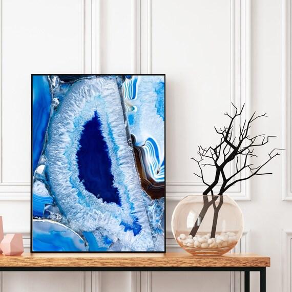 Agate Wall Art, Digital Download, Blue Art, Modern Art, Abstract Wall Art, Colourful art, Geode Poster, Geode Decor, Geode Art.