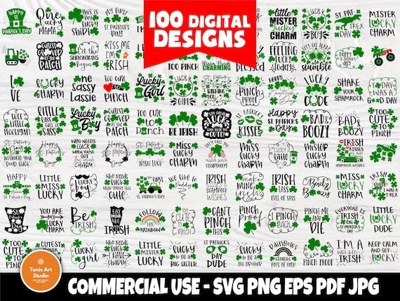 St Patrick's Day SVG Bundle | 100 Shirt Designs | Funny St Patrick's Quotes | Irish Svg | Lucky Svg | St Patrick's Cut Files for Cricut