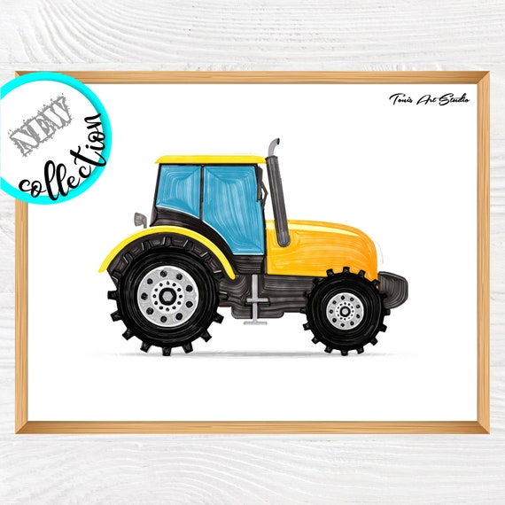 Tractor wall art | Truck printable | Watercolor vehicles | Transportation | Tractor print | Printable art | Boy room decor | Boys prints