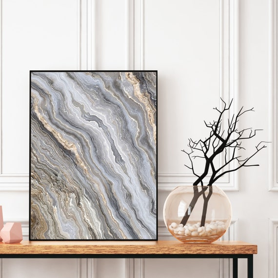 Agate Wall Art Print, Grey Marble Decor, Granite Print, Digital Download, Elegant Modern Art, Abstract Wall Art, Geode Poster, Marble Print.