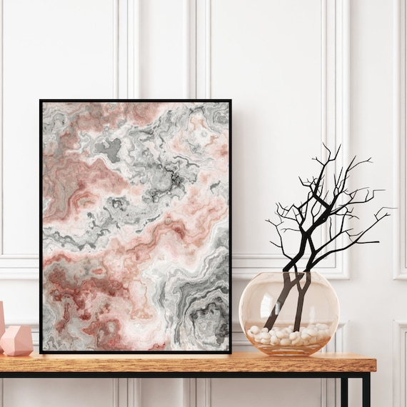 Agate Wall Art, Grey and Pink Marble Decor Printable, Digital Download, Elegant Modern Art, Granite Wall Art, Geode Poster, Marble Print.