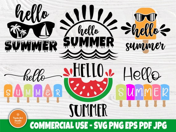 Hello Summer SVG Bundle, Beach Svg, Popsicle Svg