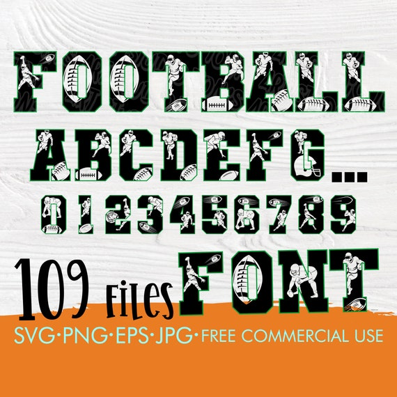 Football font SVG | Football letter svg | Football numbers svg | American football alphabet | Football cut files for cricut and silhouette