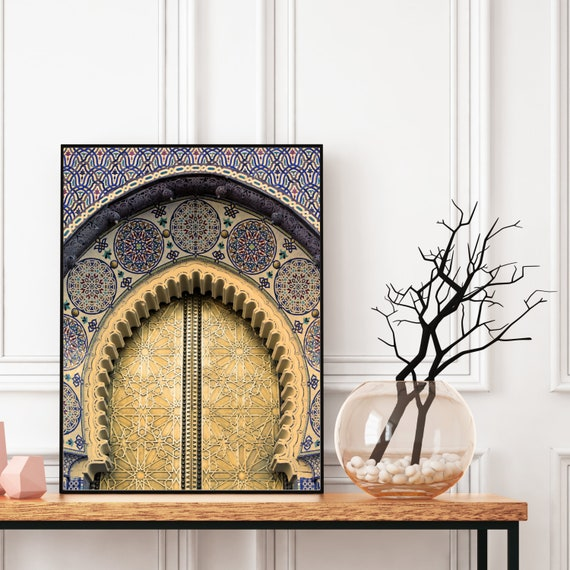 Moroccan Door Decor Printable, Blue and Gold Boho Decor, Architecture Print, Colourful Large Wall Art, Travel photography, Digital Download.