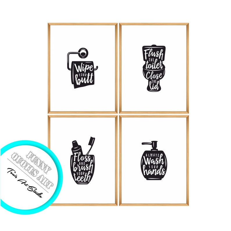 Set of 4 Bathroom// Toilet Fun quirky Word// Wall Art Prints If you sprinkle...