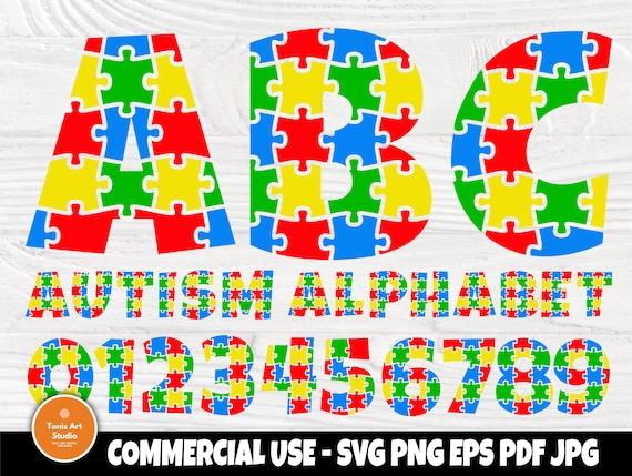 Autism Font SVG, Autism Alphabet, Svg Cut Files, Autism Awareness Svg, Puzzle Letters Svg, Autism Monogram, Fonts for Cricut and Silhouette